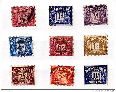 GB Postage Due Collection of 9 Values to 10/- Unchecked VFU X1847