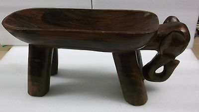 Amazing Hand Carved Large Wooden Elephant Candy Nut Dish RARE Collectors
