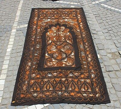 Antique Original Perfect Indian  Handmade Wool And Silk Decorated Textile