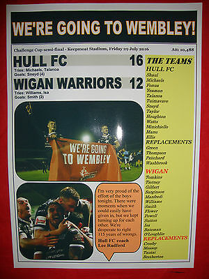 Hull FC 16 Wigan Warriors 12 - 2016 Challenge Cup semi-final - souvenir print