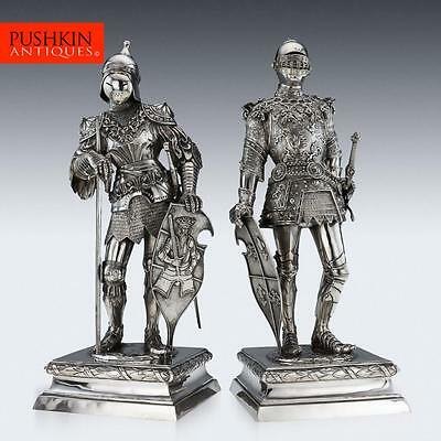 ANTIQUE 20thC GERMAN SOLID SILVER PAIR OF MASSIVE KNIGHT FIGURES, HANAU c.1900