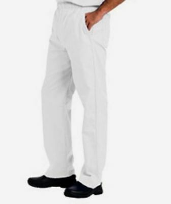 Landau Men Drawstring Elastic Scrub Pant Style 8550 White WWVC Sizes M to XL