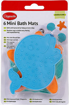 Clippasafe 6 MINI BATH MATS ASSORTED COLOURS Baby/Child/Kids Safe Bathing BN