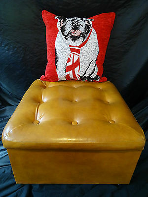 Immaculate Nice Comfy Chesterfield Style Mustard Tan Leather Footstool Ottoman