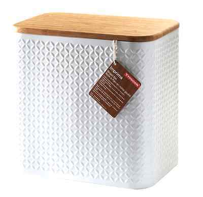 Vintage Bread Box Stainless Steel Bin White Storage Container Large Typhoon NEW