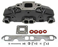 Mercruiser V8 Exhaust Manifold & Riser(14°) Kit Dry Joint 5.0,5.7,350,377 HGE