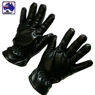 Men's PU Leather Winter Wrist Gloves Warm Protect Driving Black OGLOV4001