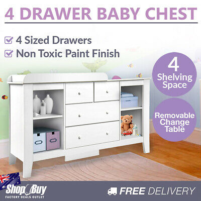 Baby Nursery Change Table Chest Dresser Drawer Cabinet Nappy Changer White