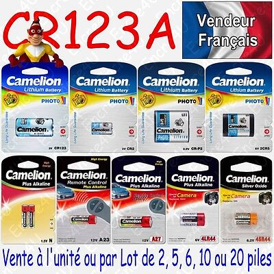 Piles Battery photo Lithium 3V CR123A DL123 CR123 EL123AP dispo par 1 2 5 ou 10