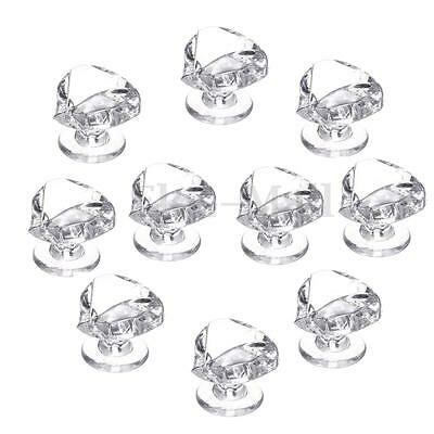 10PCS Diamond Shape Crystal Glass Cabinet Knob Cupboard Drawer Pull Handle Small