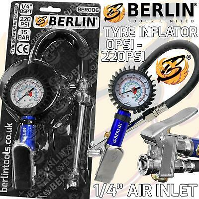 BERGEN Professional Tyre Inflator With Gauge Air Line Tyre Pump Pressure Tester