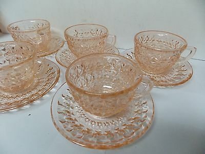 Jeannette Glass Pink Holiday Buttons & Bowls Cup and Saucer Sets , Set of 5