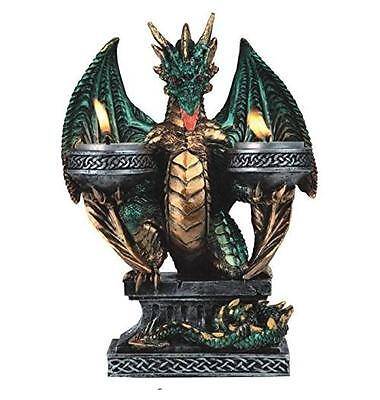 """NEW StealStreet Green Dragon Tea Light Candle Holder with Medieval Designs 7.75"""""""