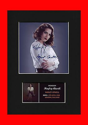 Hayley Atwell Agent Peggy Carter Quality signed Mounted Pre-Print Shield