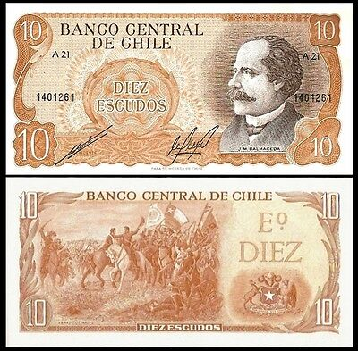 Chile 10 ESCUDOS Sign.1 ND 1976-67 P 143 UNC