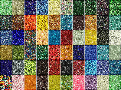 50g Glass Seed Beads 2mm Round 12/0 Silver Lined Opaque Rainbow Ceylon