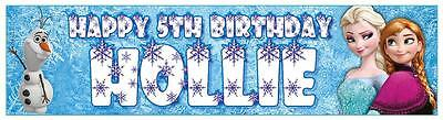"""2 PERSONALISED FROZEN BANNERS 3ft - 36 """"x 11"""" PARTY BIRTHDAY ANNA, ELSA & OLAF"""
