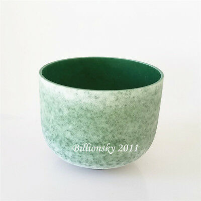 Emerald Fusion F Heart Chakra Frosted Quartz Crystal Singing Bowl 12''