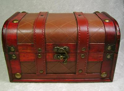 Wood Box Chest Antique Brass Colored Fittings Deep Red Straps Brown Textured