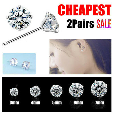 Women Men Sterling Silver Cubic Zirconia Round Stud Earrings 2 Pairs Hot Sale