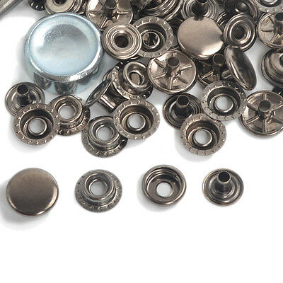 15/50/100 Gunmetal Black 12.5/15/17mm Leather Poppers Snap Fasteners Press Stud