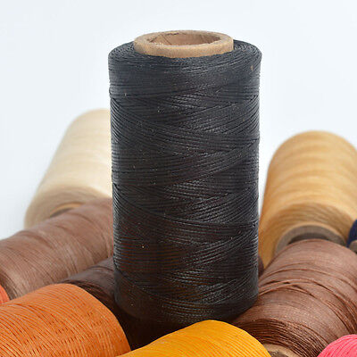 Black 260m/284yds Spool 1mm Sewing Leather Waxed Poly Flat Thread Leathercraft