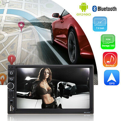 "7"" Double 2 Din Car Radio Bluetooth Touch Screen Android GPS FM/MP5 Player USB"