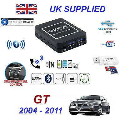 Alfa GT Bluetooth Hand Free Phone AUX Input MP3 USB 1.0A Charger Module 04-11