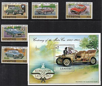 MOTOR Cars Thematic STAMPS Lesotho 1986 Set & Mini Sheet SG640-645+ MS Ref:TH654
