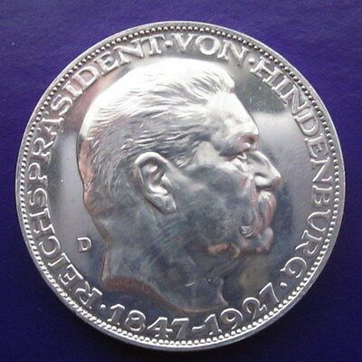 Germany 5 Marks 1927-D Commemorative Silver (OA )