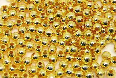 1000 x 2mm Gold Plated Smooth Spacer Beads Findings Craft Round Jewellery XX128
