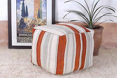 """Berber Floor Pouf, Handcrafted from vintage Moroccan Kilim Rug, 20""""x20""""x16"""" PK98"""