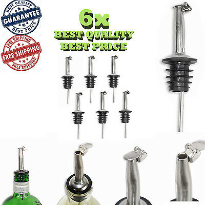 6x Olive Oil Pour Spouts Liquor Wine Bottle Weighted Pourers Cap Stainless Steel