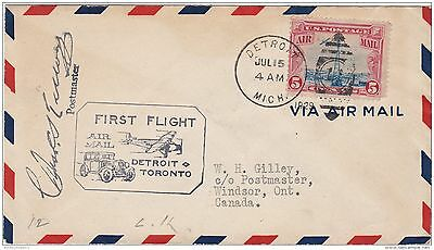 USA 1929 First Flight Cover Signed Detroit - Toronto ZZ2098