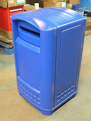 Rubbermaid Blue Stationary Recycling Container Trash Can 50 Gal. FG396973BLUE
