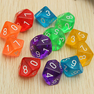10pcs Multi Sides Dice D10 Gaming Dices for RPG Dungeons & Dragons Games D&D