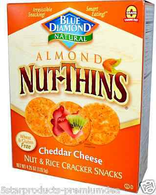 New Blue Diamond Almond Nut-Thins Rice Cracker Snacks Cheddar Cheese Food Lunch