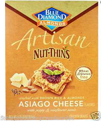 New Blue Diamond Almond Nut-Thins Rice Cracker Snacks Asiago Food Lunch Daily