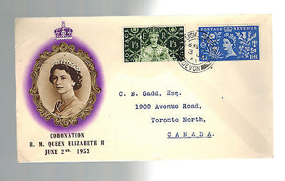 1953 England First Day Cover FDC QE II Queen Elizabeth coronation to canada
