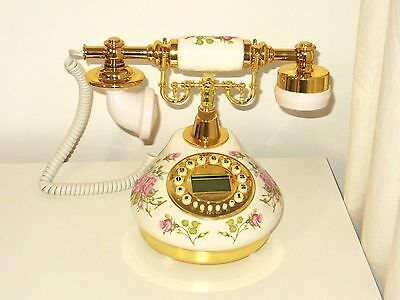 Classical Ceramic Desk Telephone Vintage Button Dial Retro Antique Corded Phone