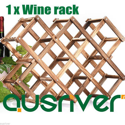 Brand New Wooden Foldable Wine Rack Stand Bottle Holder Shelf For 10 Bottles