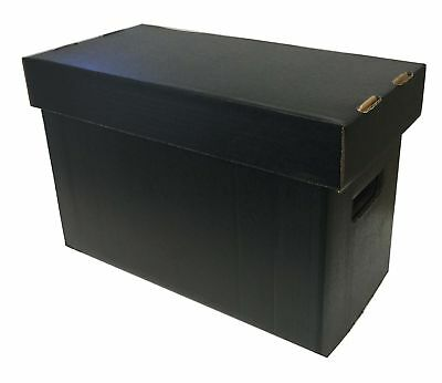 5 Max Pro Short Cardboard Comic Book Storage Boxes holds 150-175 comics BLACK