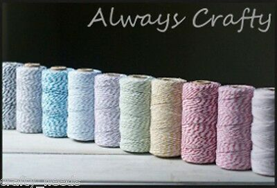 8PLY  Bakers TWINE, SILVER , GOLD -   4M, COTTON  Scrapbooking Craft