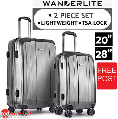 Luggage Suitcase 2pc Trolley Wheel Set TSA Travel Carry On Hard Case Lightweight