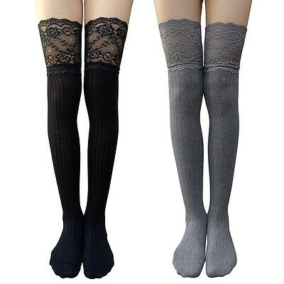 Women's Girl Lace Knitting High Socks Over Knee Thigh High Stockings Pantyhose
