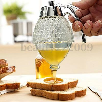 200ML Acrylic Clear Glass Honey Dispenser Container Handle Drip Juice Holder Pot
