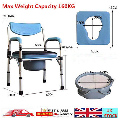 Folding Commode Chair Aluminium Medical Mobility Aid Toilet Seat Shower Stool