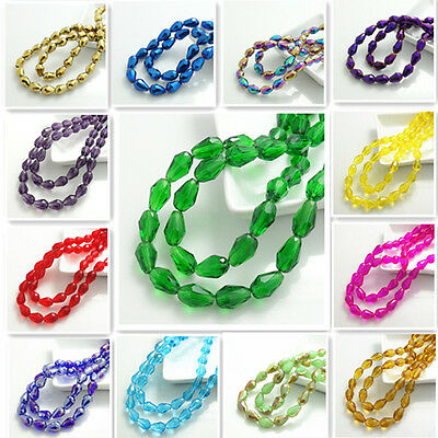 Wholesale new 20pcs Faceted Teardrop Glass Crystal  Loose Spacer Beads 8x12mm