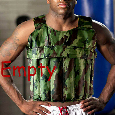 Camo Weighted Vest Jacket Adjustable Strength Training Exercise Fitness Empty