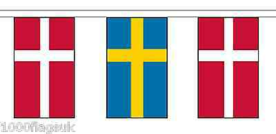 Sweden & Denmark Polyester Flag Bunting - 20m with 56 Flags
